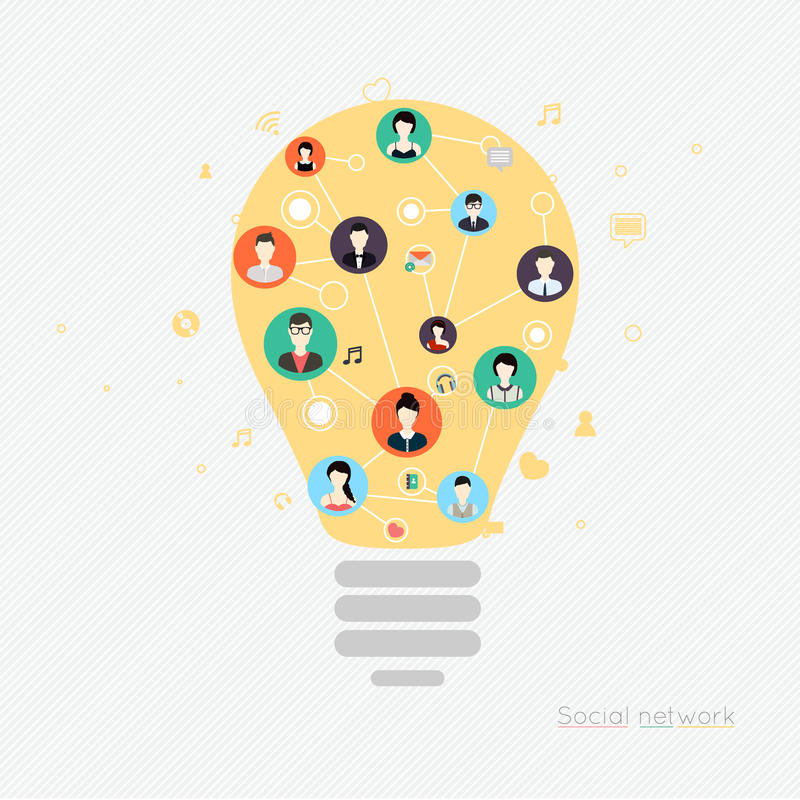 Pojęcie dla ogólnospołecznej sieci Pojęcia dla sieć sztandarów i drukujący ilustracja wektor