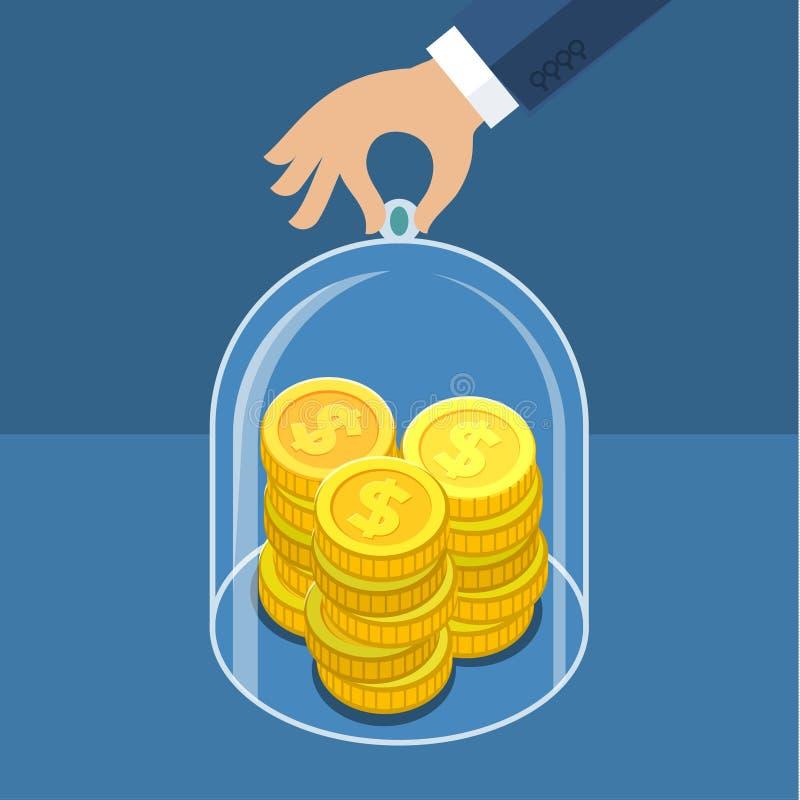 Pojęcie dla ratować pieniądze royalty ilustracja
