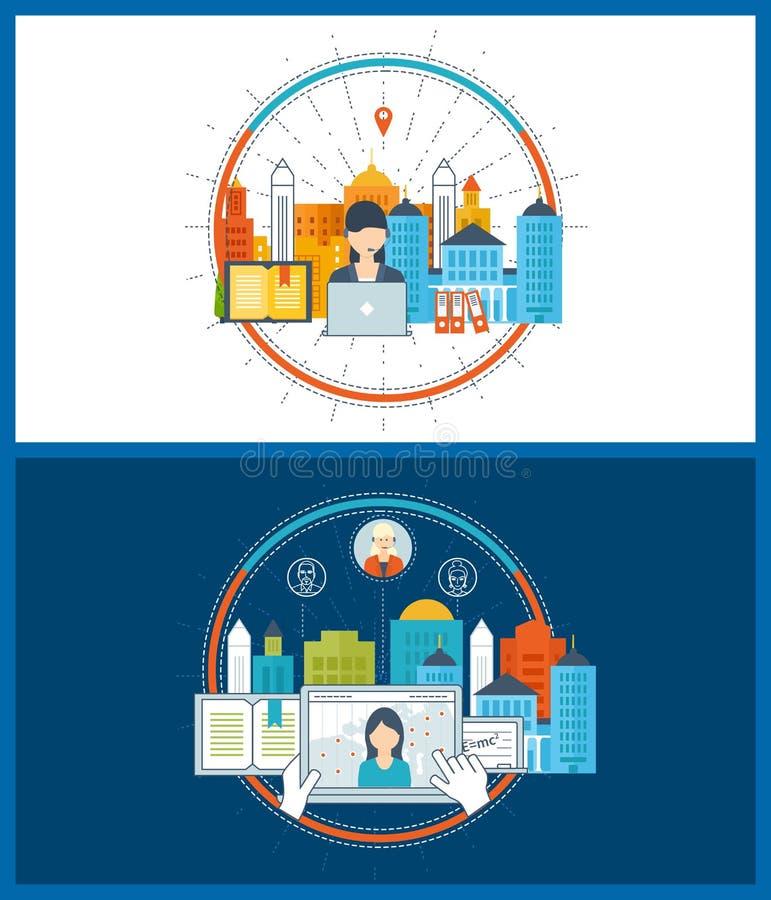 Pojęcie dla strategii planuje, finanse, strategiczny zarządzanie, online edukacja ilustracji
