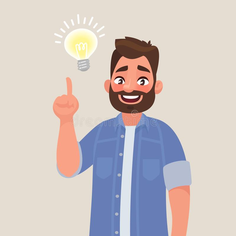 Pojęcie doskonały pomysł Mężczyzna przedstawień gest Rozwiązanie prob ilustracji
