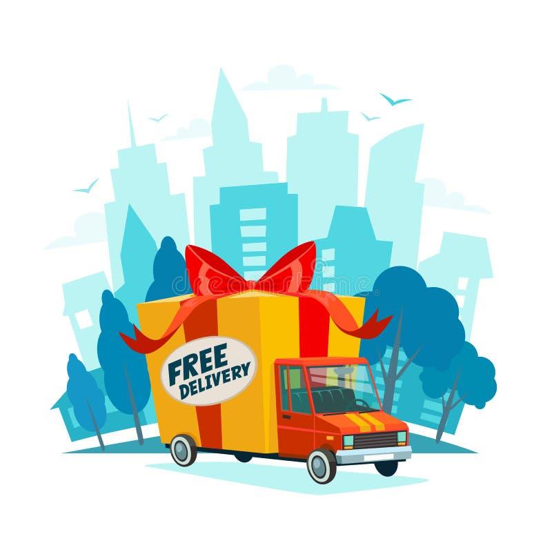 pojęcie dostawa uwalnia Doręczeniowa ciężarówka z prezenta pudełkiem, pakuneczek Doręczeniowej usługa wysyłka samochodem lub cięż ilustracji