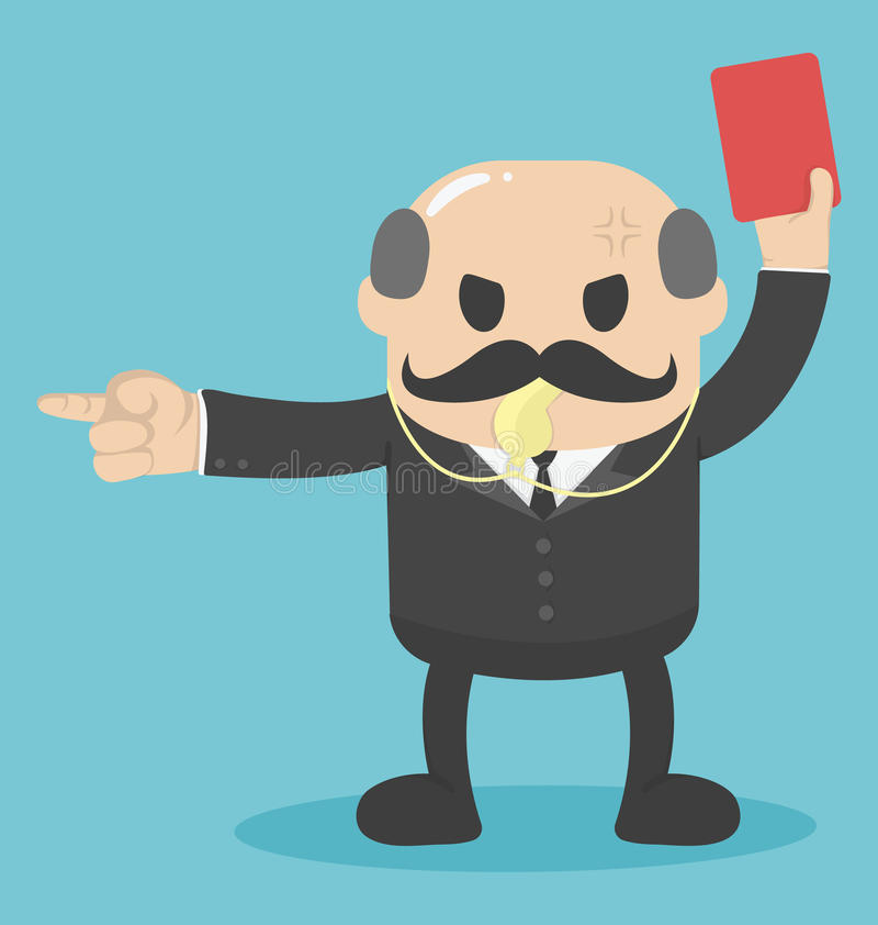 Pojęcie duży szef podnosił czerwoną kartkę dla out pracuje ilustracji