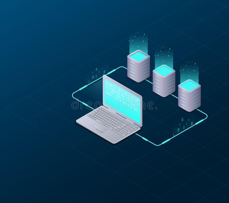 Pojęcie duzi dane - przetwarzający, web hosting i serweru pokój, komputer Internetowej sieci komunikacja Duża dane synchronizacja royalty ilustracja