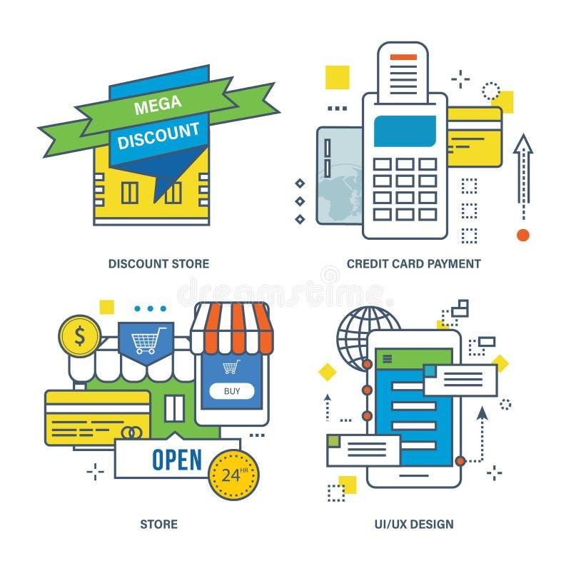 Pojęcie dyskontowy sklep, kredytowej karty zapłata, royalty ilustracja