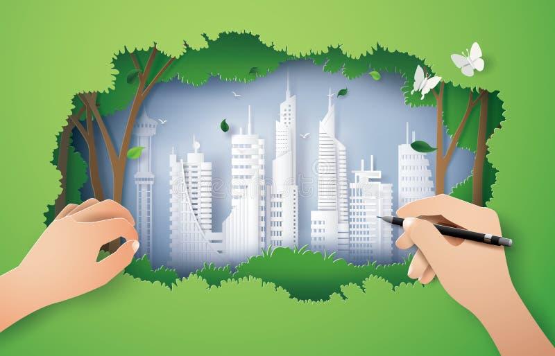 Pojęcie eco środowisko z zielonym miastem royalty ilustracja