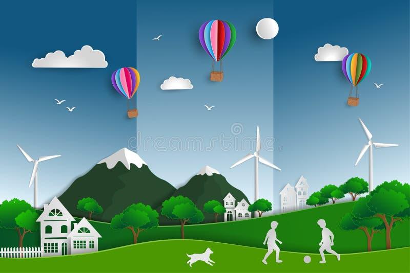 Pojęcie eco życzliwy save środowisko i świat ilustracja wektor