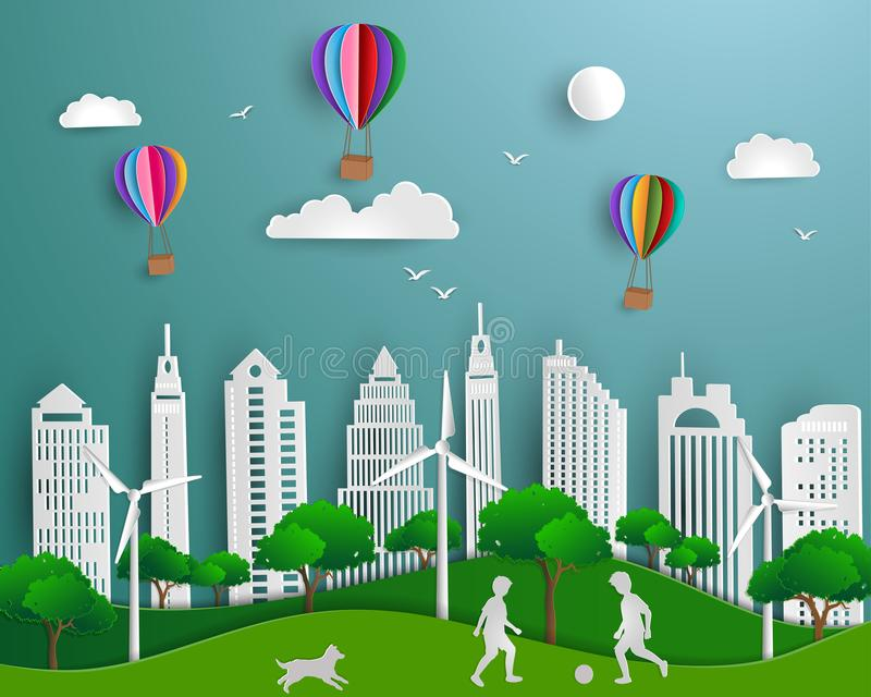 Pojęcie eco życzliwy save środowisko i, papierowy sztuki sceny tło royalty ilustracja