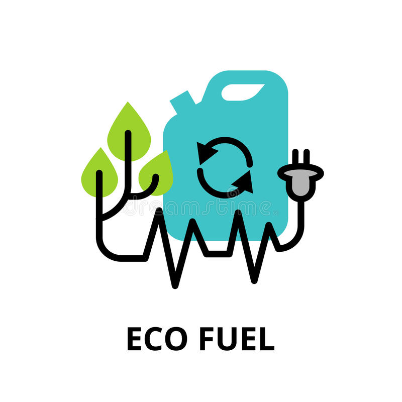 Pojęcie Eco paliwo, technologie przyszłość i zieleni energia, ilustracji