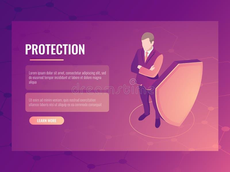 Pojęcie finansowa bezpieczeństwa i ryzyka ochrona, biznesmen z osłoną, dane ochrony isometric wektorowy sztandar 3d ilustracji