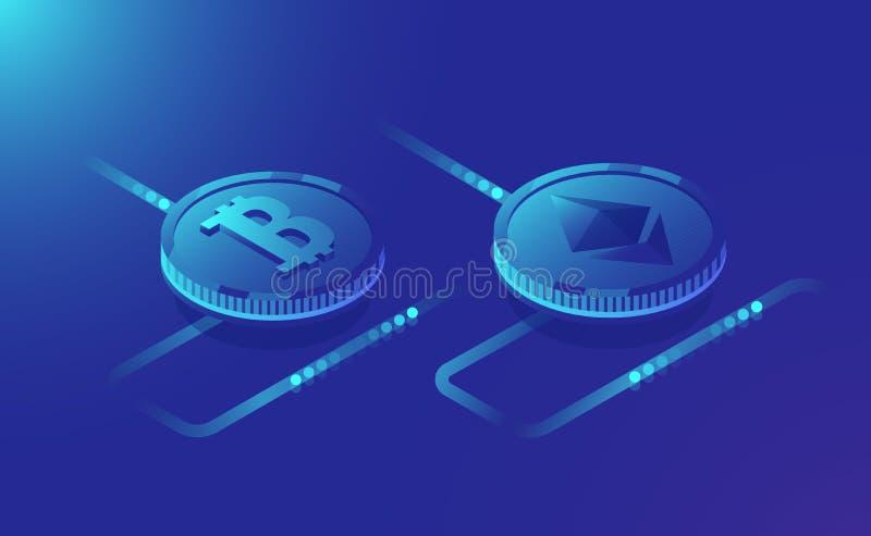Pojęcie górniczy cryptocurrency ethereum i bitcoin, isometric dane - przetwarzać kanał, ikona cyfrowy cryptocurrency royalty ilustracja