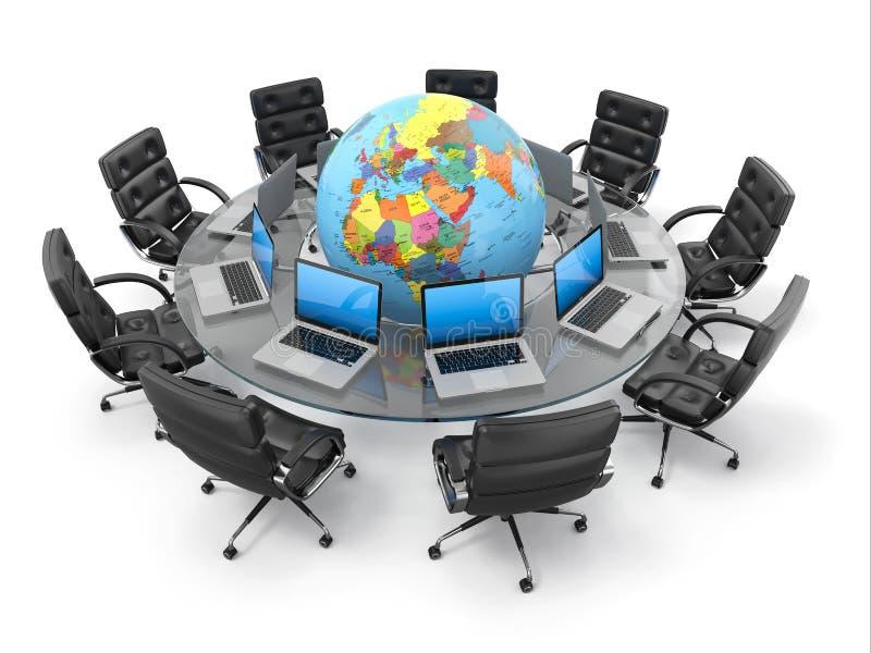 Pojęcie globalna komunikacja biznesowa. 3d ilustracji