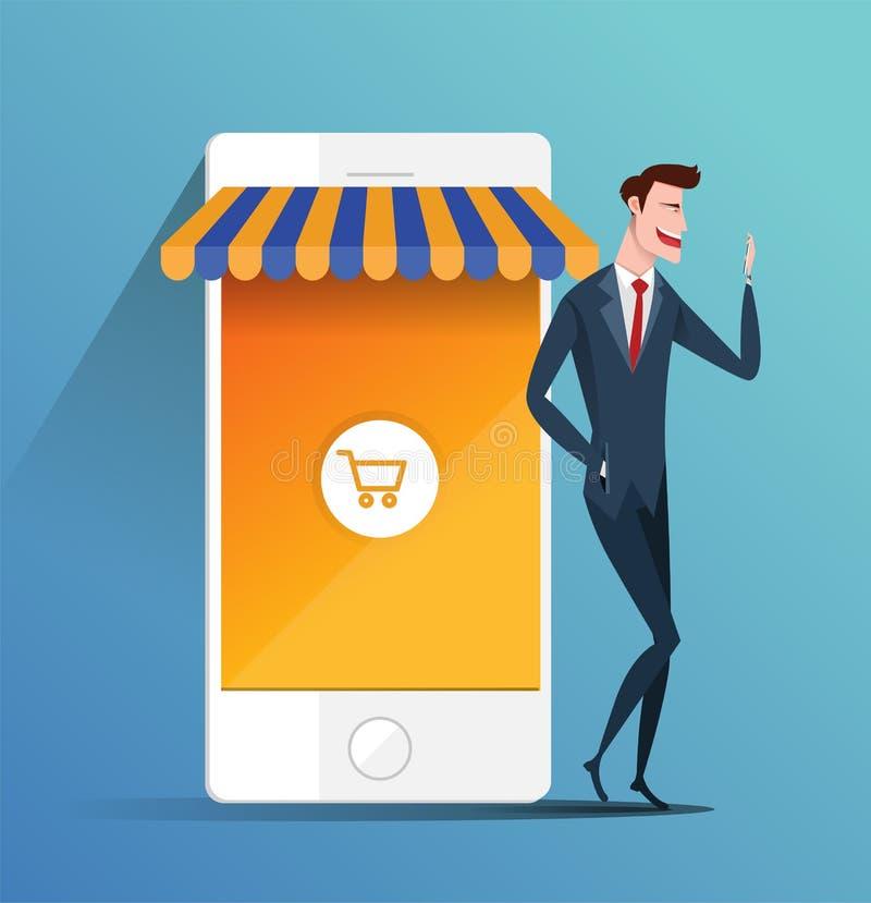 Pojęcie handlu elektronicznego online zakupy online i zakupy - biznesowego mężczyzna mienia telefon komórkowy Biznesowy płaski we ilustracji