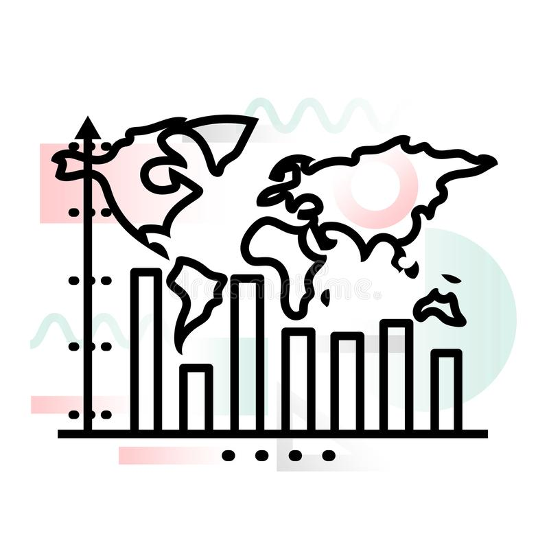 Pojęcie ikona globalnego biznesu wzrostowa dynamika z abstrakcjonistycznym tłem ilustracji