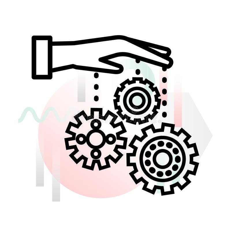 Pojęcie ikona zarządzanie procesami z abstrakcjonistycznym tłem ilustracji