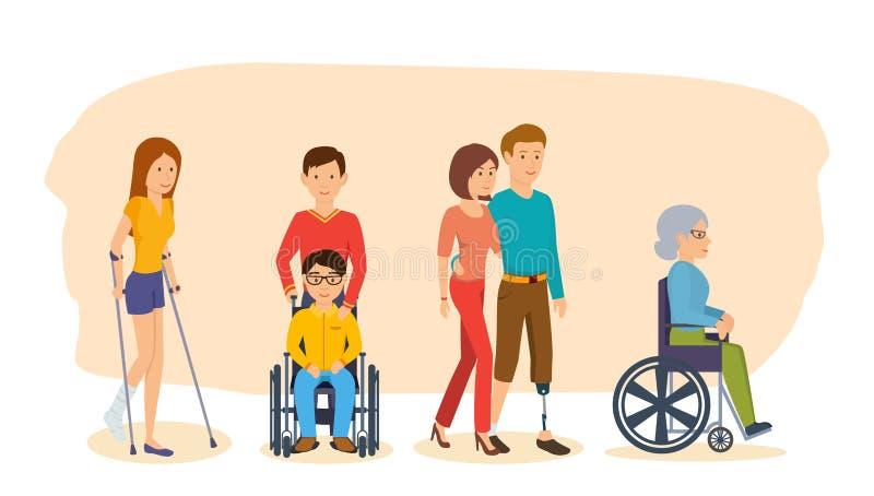 Pojęcie ilustracja - niepełnosprawni i przyjaciół pomagać ilustracji