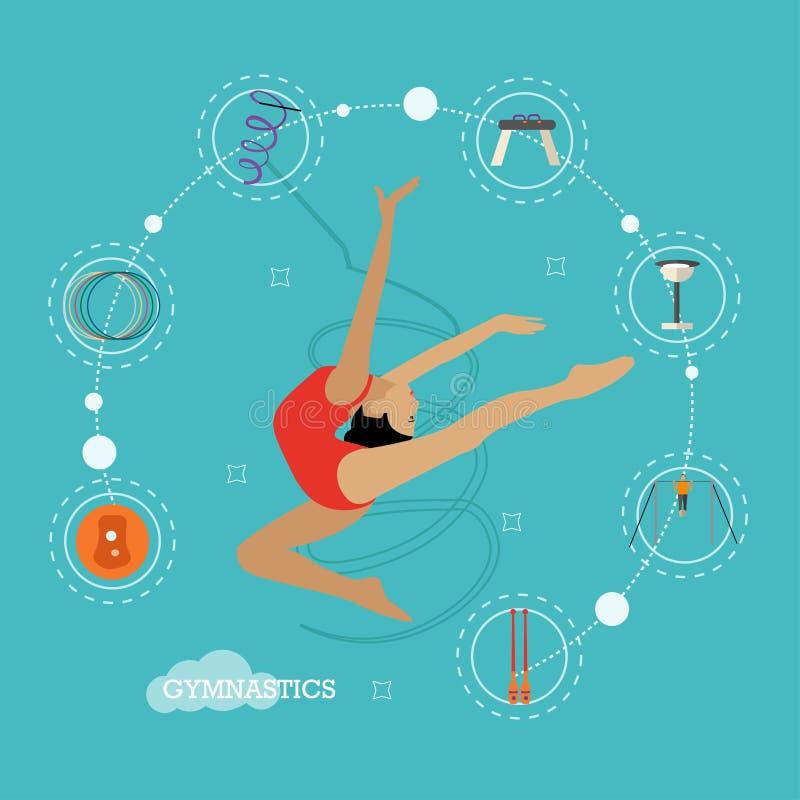 Pojęcie ilustracja rytmiczne i artystyczne gimnastyki, płaski projekt ilustracji