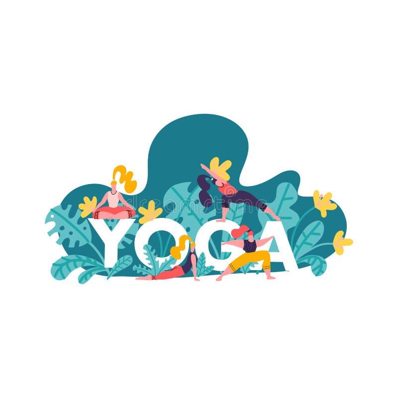 Pojęcie ilustracja z wielkim słowem joga i dziewczyny robi różnorodnym joga pozom, liściom i greenery odizolowywającym na białym  royalty ilustracja