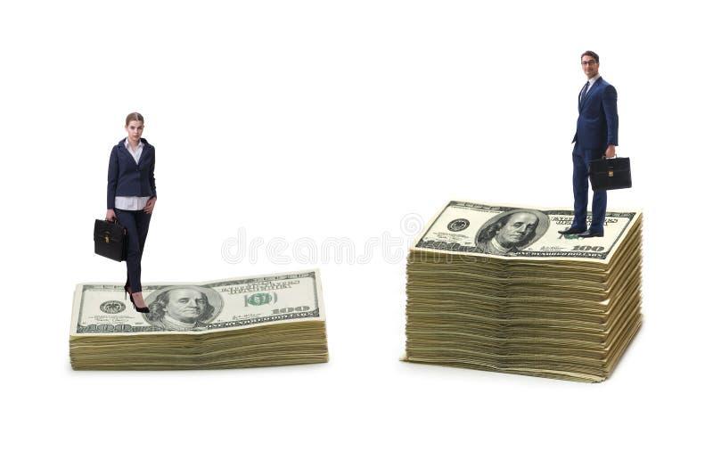 Pojęcie inequal wynagrodzenie i nierówność w traktowaniu płci między mężczyzna kobietą zdjęcia stock