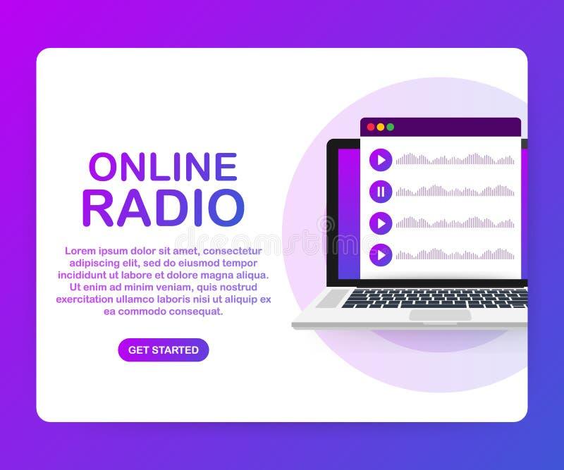 Pojęcie interneta online radiowy leje się słuchać, ludzie relaksuje słucha tana Muzyczni zastosowania, playlista online piosenki royalty ilustracja