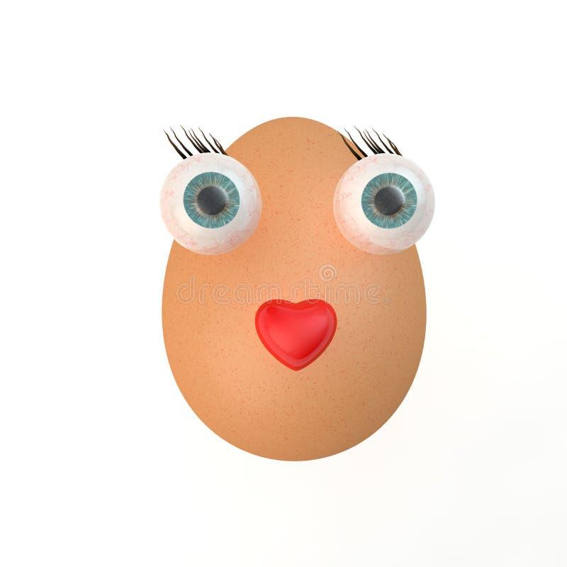 Pojęcie jajka z oczami na białym tle ilustracji