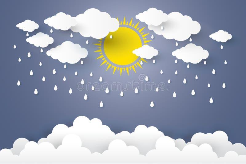 Pojęcie jest pory deszczowa sztuki Papierowym stylem obraz royalty free