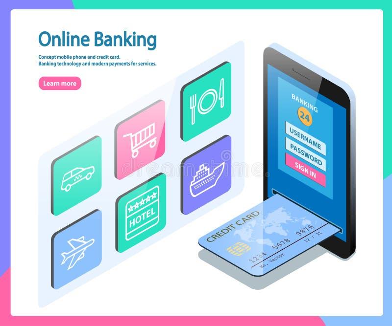 Pojęcie karta kredytowa i telefon komórkowy royalty ilustracja