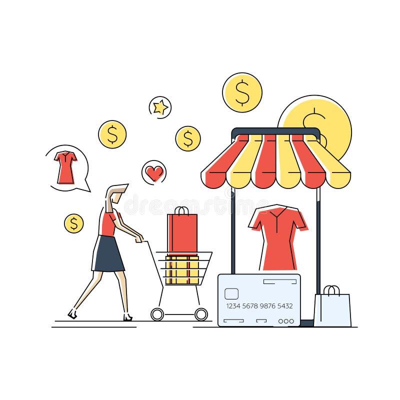 Pojęcie kobieta zakupy w online sklepie Płaska geometryczna liniowa ilustracja Wektorowy sztandar, ikona royalty ilustracja