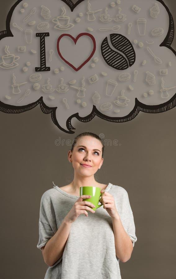 Pojęcie kocham kawę obraz stock
