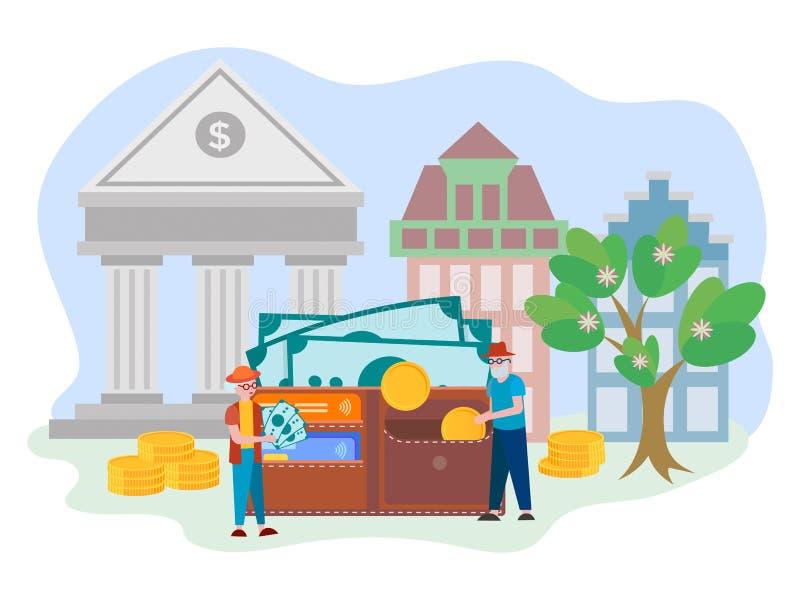 Pojęcie kompetentny zarządzanie fundusze, emerytura deponuje ilustracja wektor