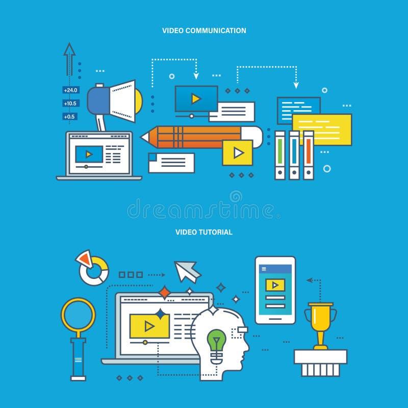 Pojęcie komunikacje, echnology, nowożytna edukacja i uczenie -, badanie, tutorial royalty ilustracja