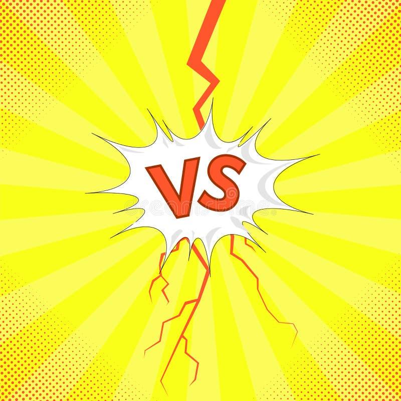 Pojęcie konfrontacja, Wpólnie, dal, Definitywny bój Versus list walki tło VS ilustracji