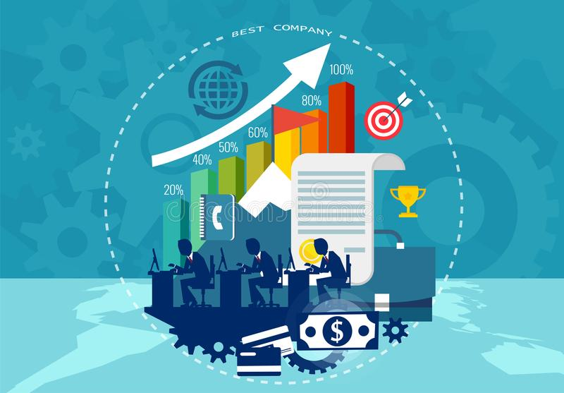 Pojęcie korporacyjny sukces i praca zespołowa również zwrócić corel ilustracji wektora ilustracji