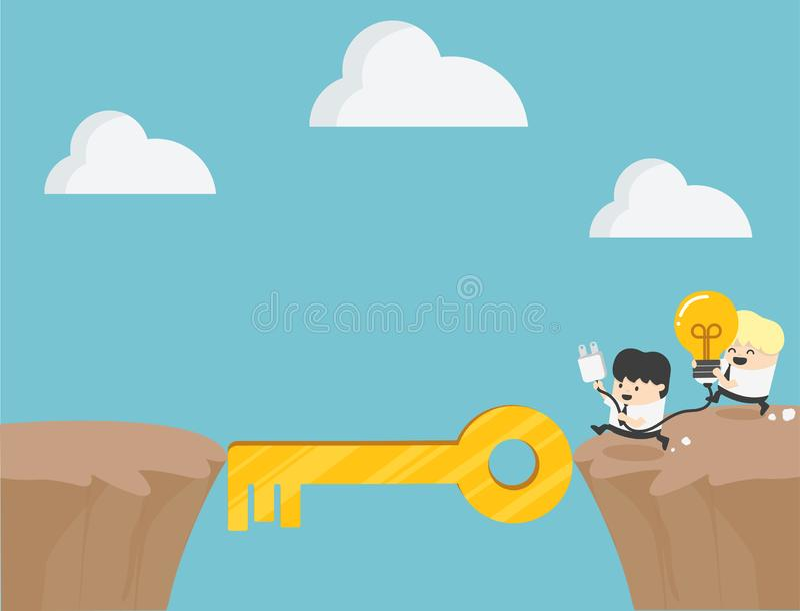 Pojęcie kreskówki współpracy biznesowy symbol ambicja, sukces ilustracja wektor