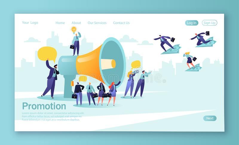 Pojęcie lądowanie strona dla mobilnego strona internetowa rozwoju i strona internetowa projekta Organizator mówi w dużym megafoni ilustracja wektor