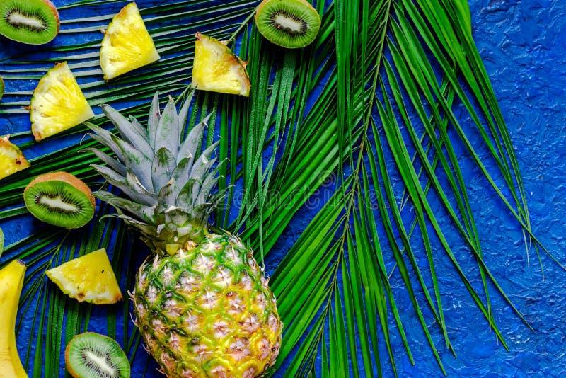 Pojęcie lato tropikalne owoc Kiwi, ananas i palma, rozgałęziamy się na błękita stołu tła odgórnym widoku obrazy royalty free