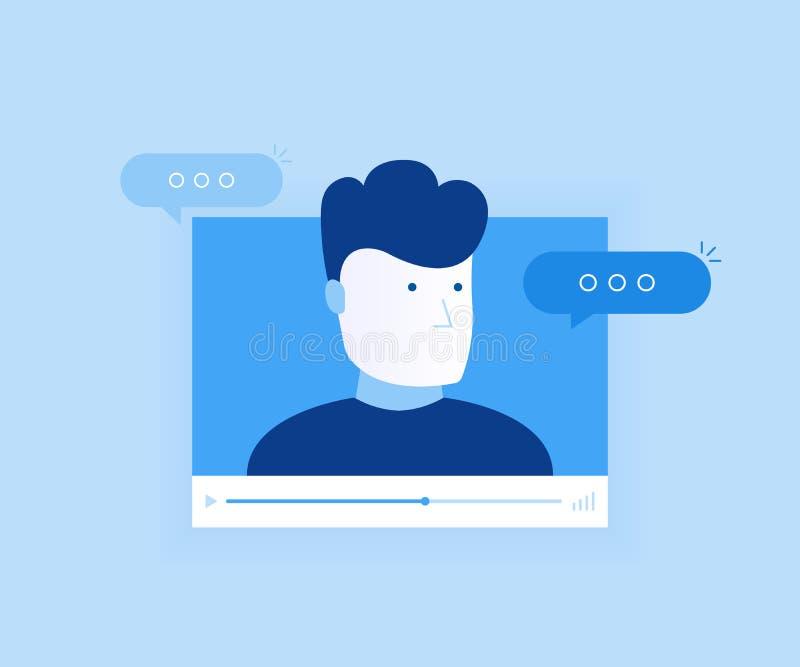 Pojęcie linii gadki wideo app, internet rozmowa, wywoławcza technologia Odtwarzacz wideo okno z mówienie wiadomościami i mężczyzn ilustracja wektor