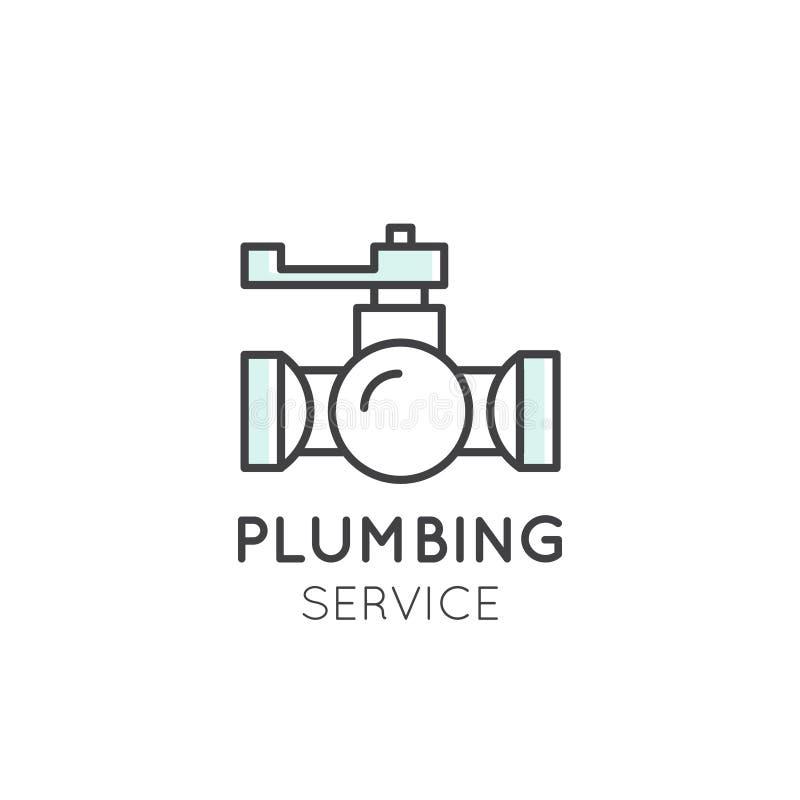 Pojęcie logo Cleaning Usługujący Instalacja wodnokanalizacyjna Dishwashing Gospodarstwo domowe Firma ilustracji