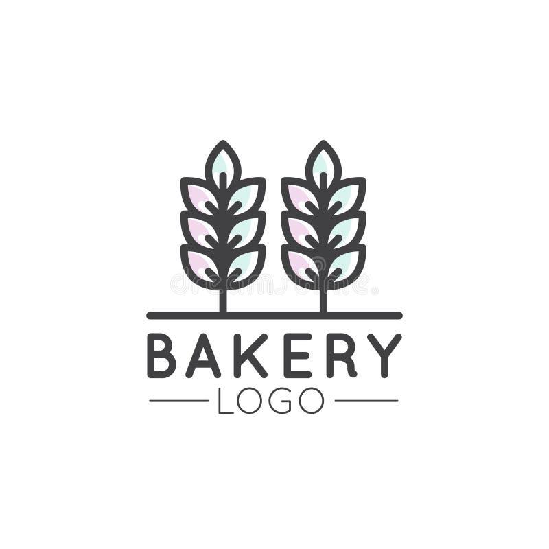 Pojęcie logo piekarnia, młyn, Chlebowy produkt, sklep, rynek, Odosobneni symbole dla sieci lub wisząca ozdoba, royalty ilustracja