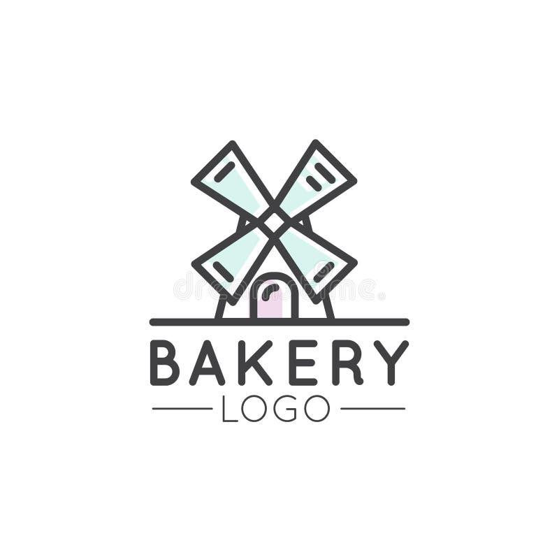 Pojęcie logo piekarnia, młyn, Chlebowy produkt, sklep, rynek, Odosobneni symbole dla sieci lub wisząca ozdoba, ilustracji