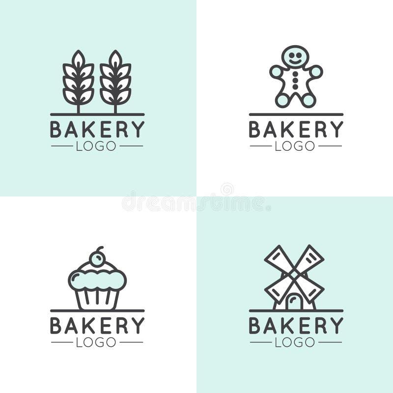 Pojęcie logo piekarnia, młyn, Chlebowy produkt, sklep, rynek, Odosobneni symbole dla sieci lub wisząca ozdoba, Pszeniczny kolec ilustracji