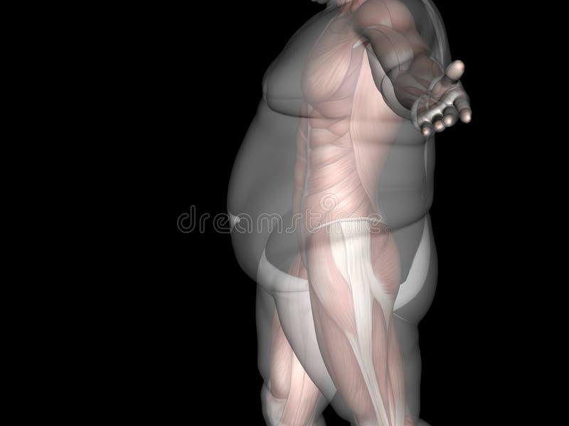 Pojęcie lub konceptualna 3D gruba nadwaga vs schudnięcie napadu dieta z mięśnia młodym człowiekiem odizolowywającym na czerni royalty ilustracja
