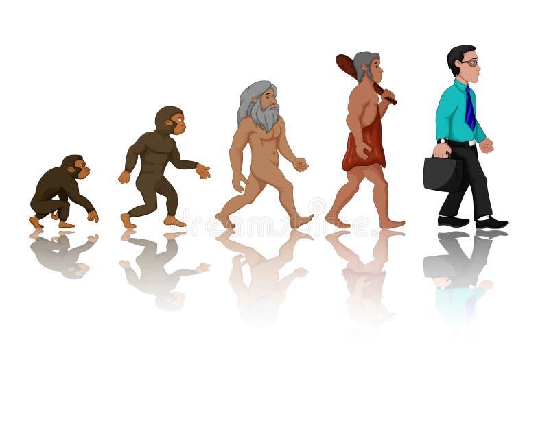 Pojęcie Ludzka ewolucja od małpy Obsługiwać ilustracja wektor