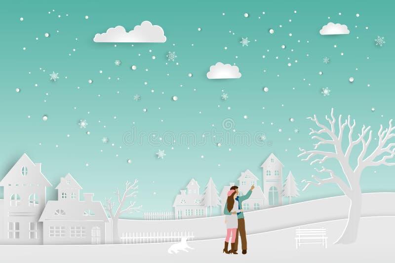 Pojęcie miłość w zima sezonie, pary pozycja na śniegu z miastowym wieś krajobrazem, wektorowa ilustracja ilustracji
