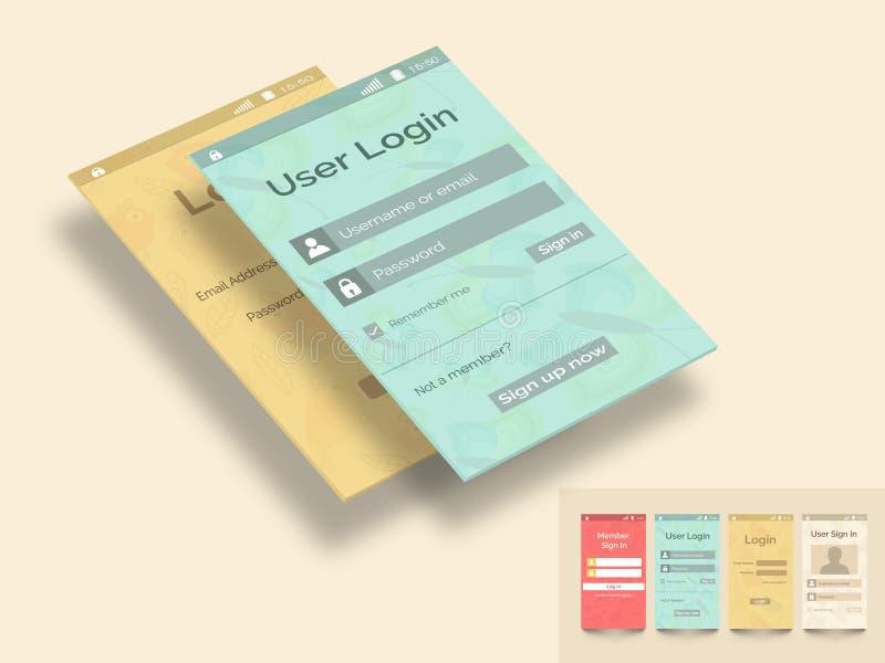 Pojęcie mobilny interfejs użytkownika ilustracji