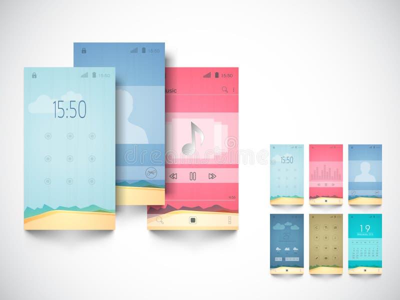 Pojęcie mobilny interfejs użytkownika ilustracja wektor