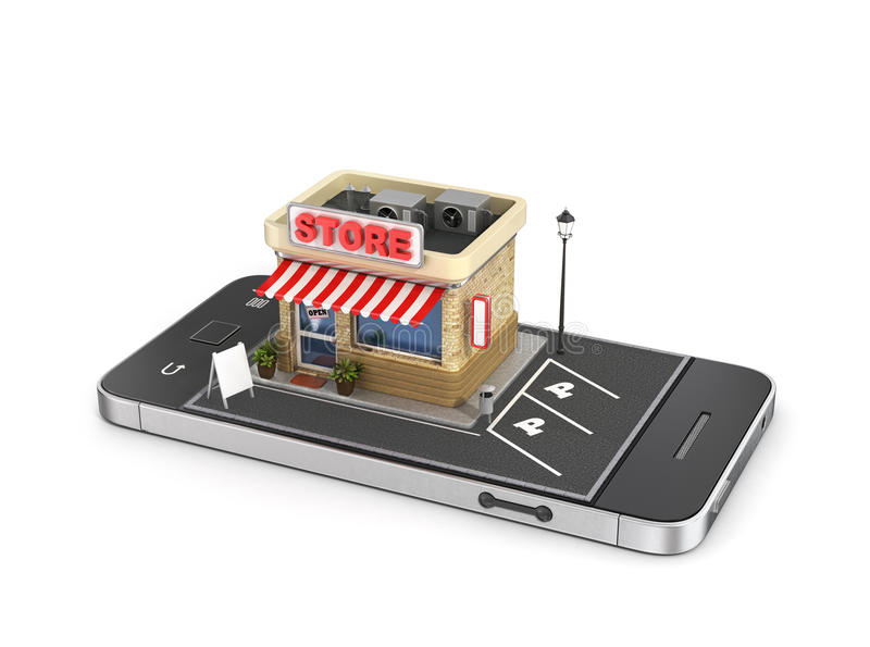 Pojęcie mobilny sklep royalty ilustracja