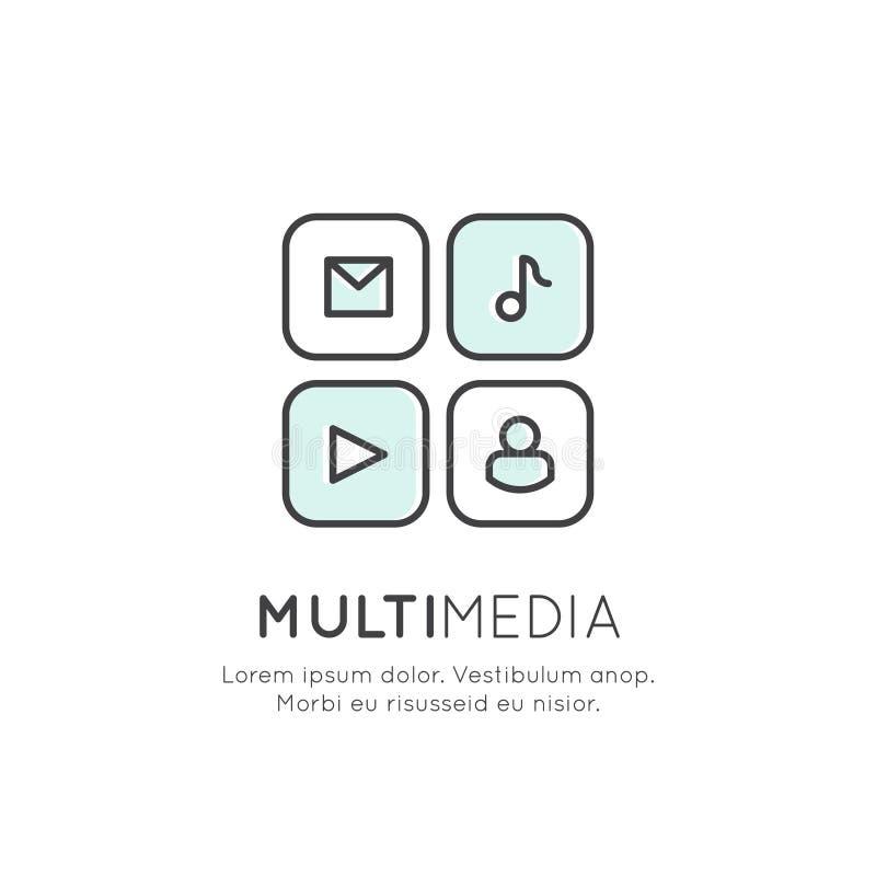 Pojęcie Multimedialny zastosowanie, goniec, wideo i odtwarzacz muzyczny, Ogólnospołeczna sieć Vidget ilustracja wektor