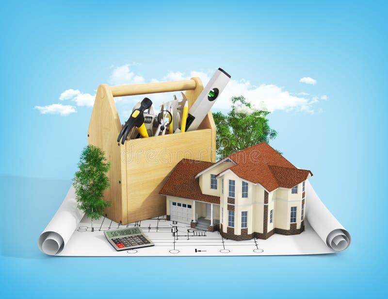 Pojęcie naprawy i budynku dom ilustracji