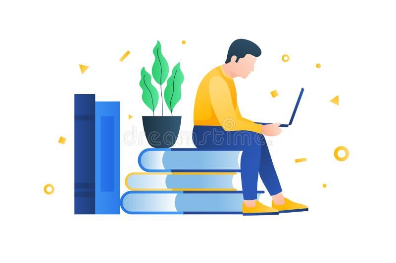 Pojęcie nauczanie online, online edukacja i sieci bezprzewodowe, Use elektroniczne biblioteki royalty ilustracja