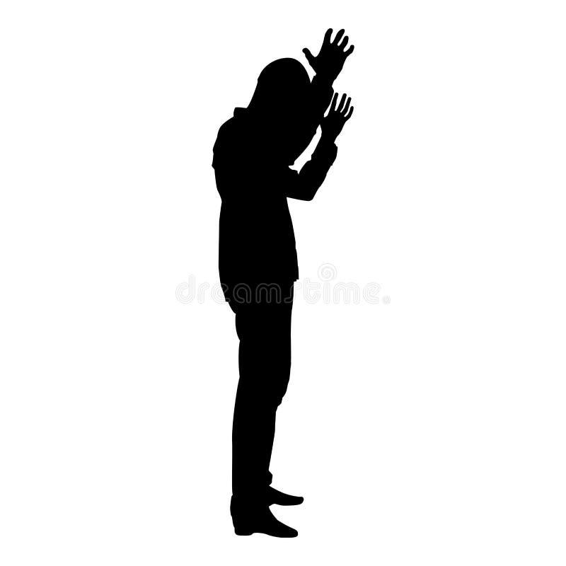 Pojęcie niepowodzenie co jest mną dla ja problemowy mężczyzna podnosząca ręki sylwetki ikony czerni koloru ilustracja royalty ilustracja